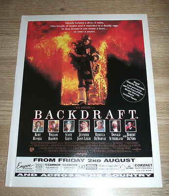 BACKDRAFT - 1991 Original Film poster full page - 12 x 9in ephemera - Cinema