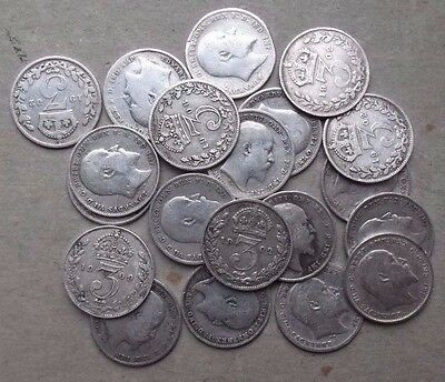 20 Silver Threepence Coins. Edward Vii. Collection Or Christmas Pudding. Job Lot