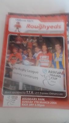 7.3.2004 Oldham Roughyeds v Leigh Centurions programme