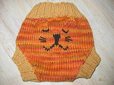 Pure wool hand knitted soaker nappy diaper cover cat