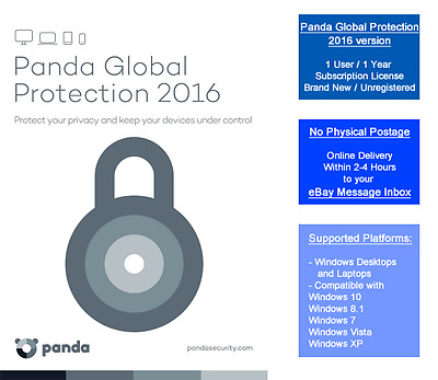 Panda Global Protection 2015 1PC | 1 Year License | Brand New | Online Delivery