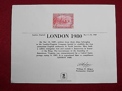 1980 London International Stamp Exhibition Souvenir Card from USA