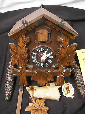 New in Box Vintage Original Black Forest Cuckoo Clock Hand Carved in W. Germany