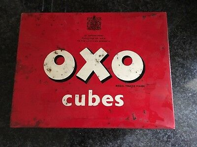 Vintage Oxo cubes tin large 24x6 To the late King George Vi t2lft