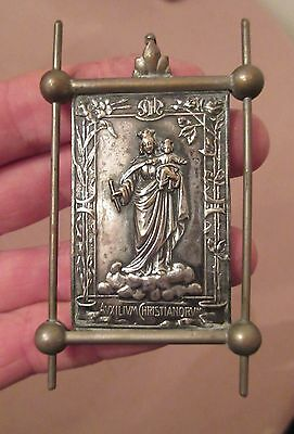 antique 1800's religious silver bronze Mary Madonna Jesus necklace pendant icon