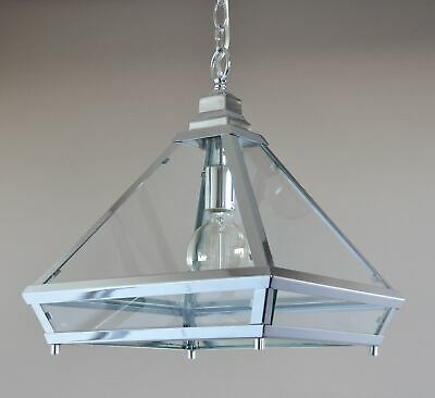 FLORIDA-ART DECO PENDANT-CHROME + GLASS LANTERN-1 LIGHT-entrance-dining room-NEW