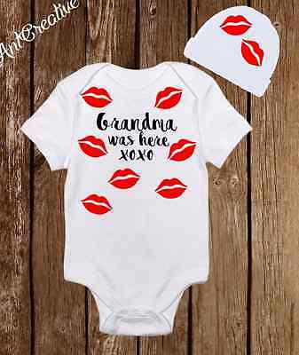 Grandma was here kisses Baby Girl Boy Clothes Onesies Hat Beanie - Shower Gift