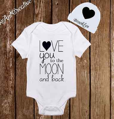 9b37c89cd Love you to the moon & back Baby Clothes Onesies Hat Shower Gift Neutral  unisex