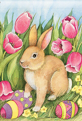 Welcome Bunny Easter Garden Flag Tulips Easter Eggs 125 x 18