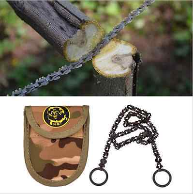 Compact EDC manganese steel toothed hand Chain Bushcraft & Survival saw + Pouch