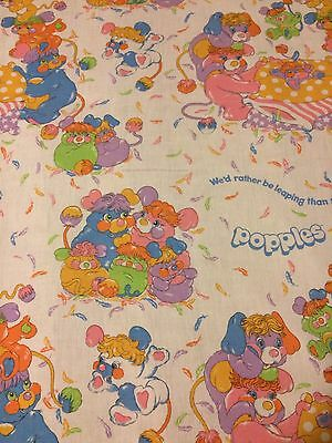 Vintage Popples Flat Twin Sheet Cutter Fabric 1985 Rather Be Leaping Than Sleep