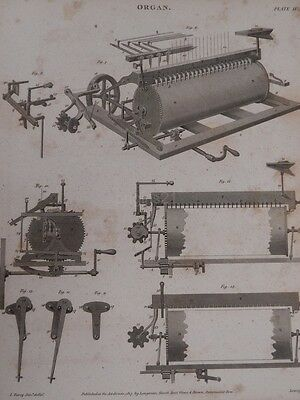 1820 GEORGIAN print Flight Robson's ORGAN musical instrument BRITISH plate