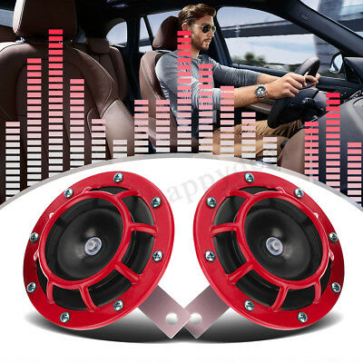 12V 139dB Supertone Dual Car Grille Horn (Pair) For Subaru Impreza WRX Evo Red