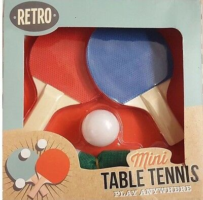 Retro Mini Table Tennis Blue and Red Bat Ping Pong Ball Net Cups gift