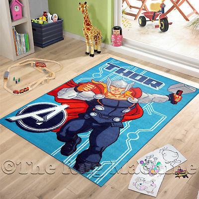 AVENGERS MIGHTY THOR KIDS FUN PLAY RUG 100x150cm NON-SLIP & WASHABLE **NEW**