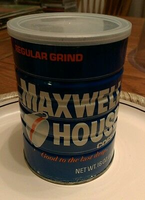vintage 16 ounce can of Maxwell House Coffee with Lid Good To The Last Drop old