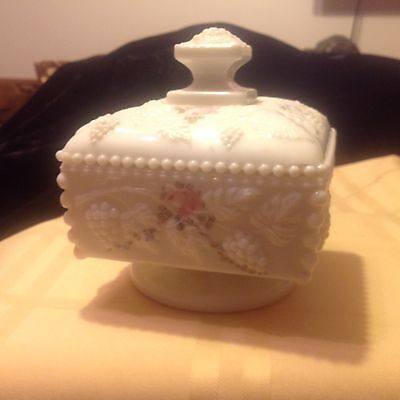Westmoreland milk glass covered candy or snack dish, pink flowered, square