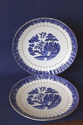 Vintage Blue Willow fluted cake plates, Pair of.