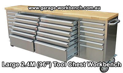 """96"""" (2400mm) Stainless Steel Garage workbench, tool trolley, Wood bench top"""