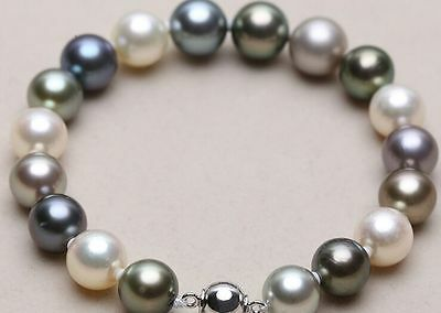 """11-12mm natural south sea genuine white black round pearl bracelet 7.5-8"""" AAA 09"""