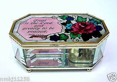 Joan Baker Hand Painted Stained Glass Music Box Holy Jewelry Trinket Bevelled