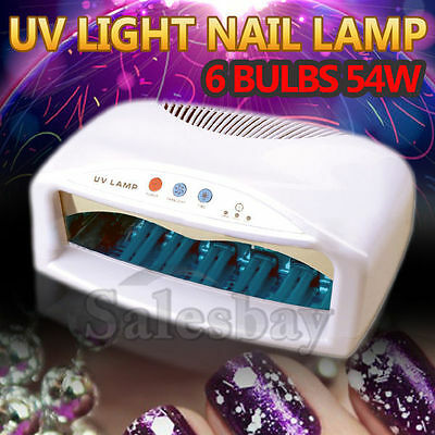 6 Bulbs 54W UV Light Nail Lamp Gel Polish Manicure Art Curing Table Dryer Timer