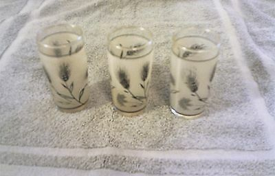 "Vintage Libbey Frosted Juice Glasses w/Wheat Branches & Flowers - 5 oz 4"" tall"