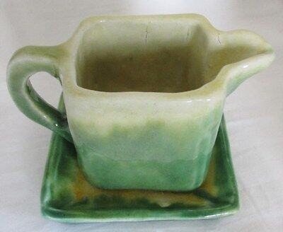 Australian Pottery Hand Built Jug & Tray Green Colouring Signed