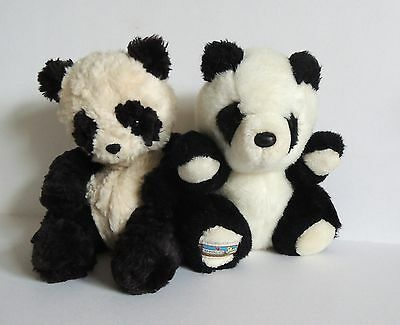 Vintage Chad Valley panda & Russ Ping bean bag panda bear collectable soft toys