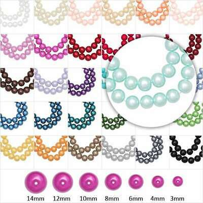 60-230pcs Glass Pearl Beads Spacer Round Loose Jewelry Making 3/4/6/8/10/12/14mm