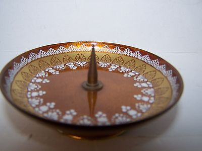 VintageCandleholder Gold Enamel over copper #8699 Handmade in  Austria