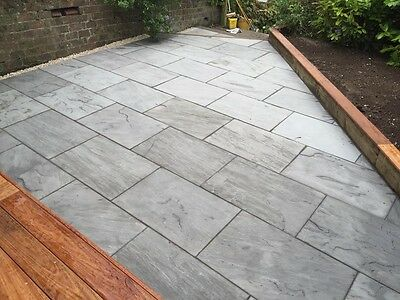 Smoke Grey Premium Indian Sandstone Patio Paving Slabs Stone 60X90 - 19m2 Packs