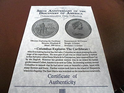Coin Certificate Only 500Th Ann. Of The Discovery Of America The Caribbean