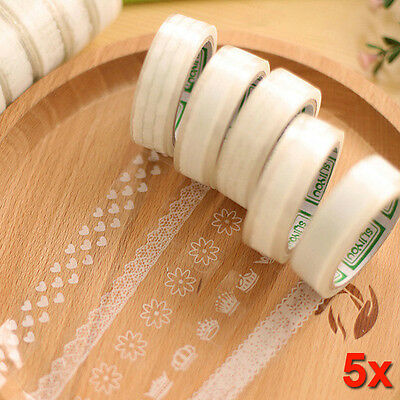 5 pcs DIY Cute Lace PVC Tape Sweet Sticker for Decor Scrapbooking Album Gift