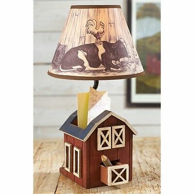 Versatile Hand Painted Wood Desk Lamp with Storage Box Western Barn Garden Lamps