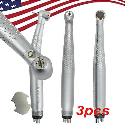 3X New Dental LED Handpiece Standard Push High Speed 4Hole Turbine fit NSK KAVO