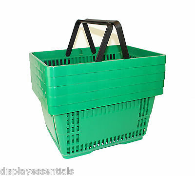 Plastic Shopping Baskets Green Pack of 5 Shopper Baskets