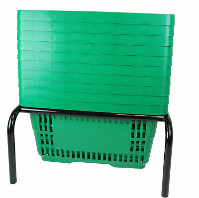 Plastic Shopping Basket x 10 in Green plus Black Stacker Stand
