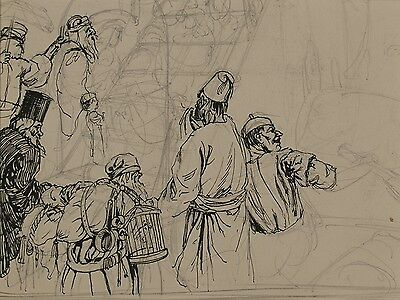 Arthur Heslop, Original Pencil, Pen and Ink Drawing, Mounted, Arabian Figures