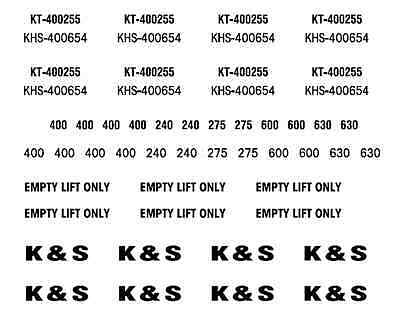 K&S Freighters decals for flatrack containers. HO Scale
