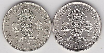 1945 & 1946 George Vi 50% Silver Florins In Bright Near Mint Condition
