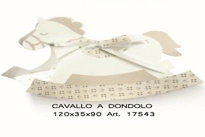 Scatola Confetti Cavallo dondolo Bloom Tortora 100x35x90mm Set 10 pz art 17543
