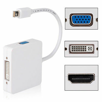Adattatore Convertitore 3 in 1 Mini DP DisplayPort a HDMI DVI VGA - Bianco