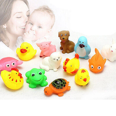 13PCS Funny Rubber Animals With Sound Toys for Baby Kids Shower Bath New