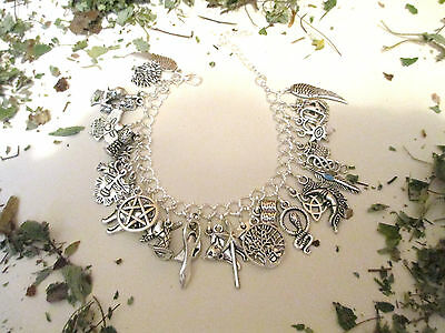 Wiccan Charm Bracelet 30 Charms,chalice,witch,book ,athame,pentagram,besom,wand
