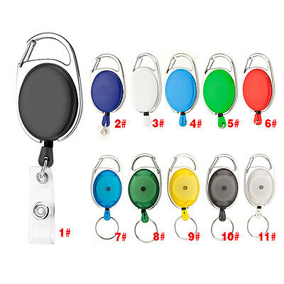 Retractable Pull Keychain Lanyard ID Holder Name Tag Card Belt Key Ring Buckle