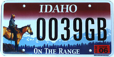 Echtes Usa Nummernschild Aus Idaho - On The Range - Cowboy Grafik