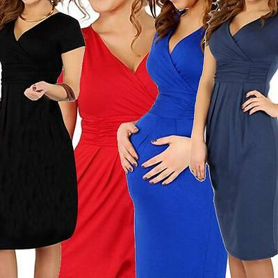 Fashion Women Maternity Clothes V-neck Short Sleeve Cotton Pregnancy Dress