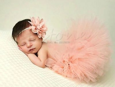 Newborn Baby Girls Tutu Skirt & Headband Boutique Photoshoot Prop Outfit Set