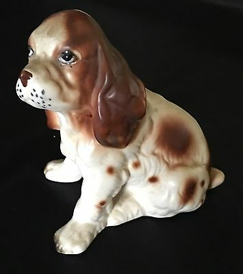 Vintage Lefton Springer Cocker Spaniel Porcelain Puppy Dog Figurine